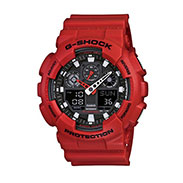 G-Shock Men's Analog Digital Red Resin Strap Watch GA100B-4A