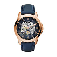 Fossil Men's Automatic Grant Navy Leather Strap Watch 44mm ME3054
